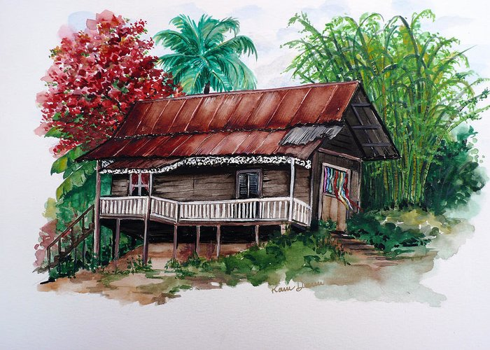 Tropical Painting Poincianna Painting Caribbean Painting Old House Painting Cocoa House Painting Trinidad And Tobago Painting  Tropical Painting Flamboyant Painting Poinciana Red Greeting Card Painting Greeting Card featuring the painting The Old Cocoa House by Karin Dawn Kelshall- Best