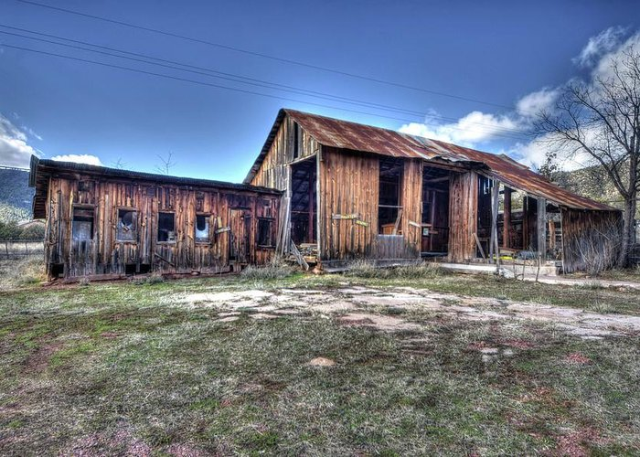 Abandoned Decayed Deteriorated Rotten Aged Old Structure Building Barn Wood Charming Character Landscape Beauty Color Red Green Blue Sky Clouds Hdr Pine Northern Arizona Greeting Card featuring the photograph The Old Haunted Barn by Thomas Todd