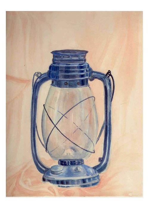 Lantern Greeting Card featuring the painting The Old Lantern by Asha Sudhaker Shenoy