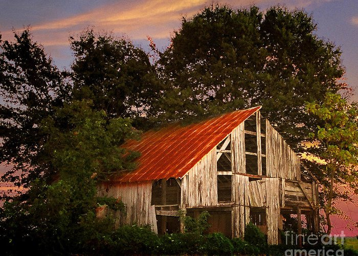 Barn Greeting Card featuring the photograph The Old Lowdermilk Barn - Red Roof Barn Rustic Country Rural Antique by Jon Holiday