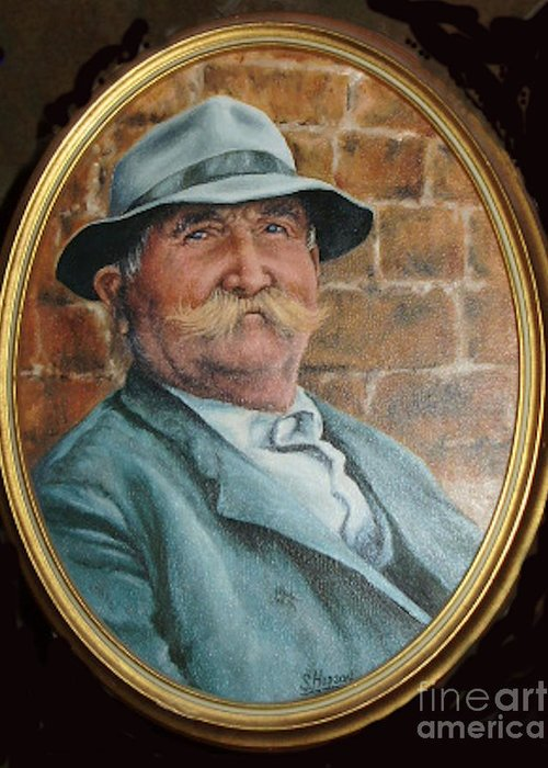 Character Portrait Greeting Card featuring the painting The Old Man by Stephanie H Johnson
