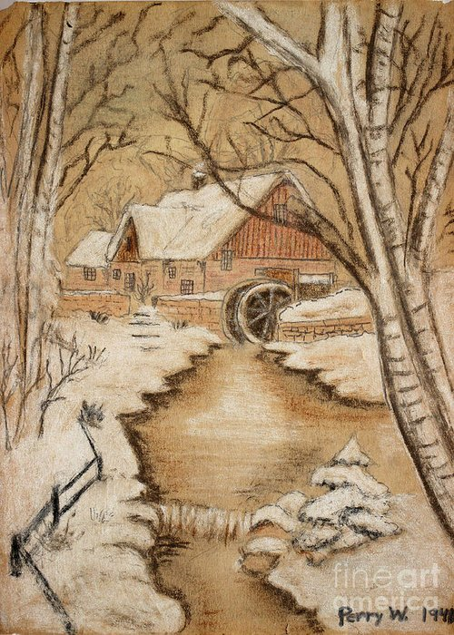 Old Mill Scenes Drawings Greeting Cards