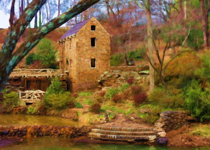 Old Mill Greeting Card featuring the digital art The Old Mill by Renee Skiba