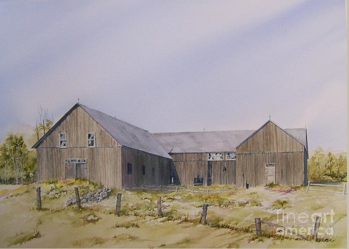 Barn Greeting Card featuring the painting The Old Morrison Barn by Jackie Mueller-Jones