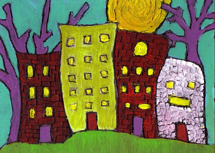 Buildings Greeting Card featuring the painting The Old Neighborhood by Wayne Potrafka