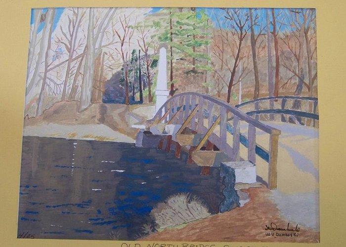The Old North Bridge Greeting Card featuring the painting The Old North Bridge In Concord Ma by William Demboski