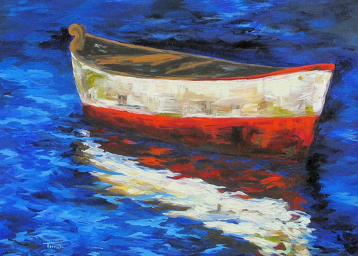 Boat Greeting Card featuring the painting The Old Red Boat II by Torrie Smiley
