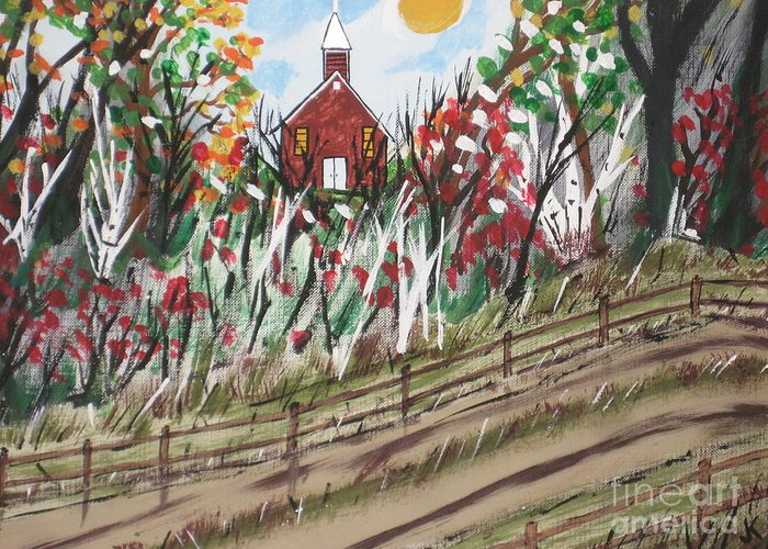 Church Greeting Card featuring the painting The Old Red Church by Jeffrey Koss