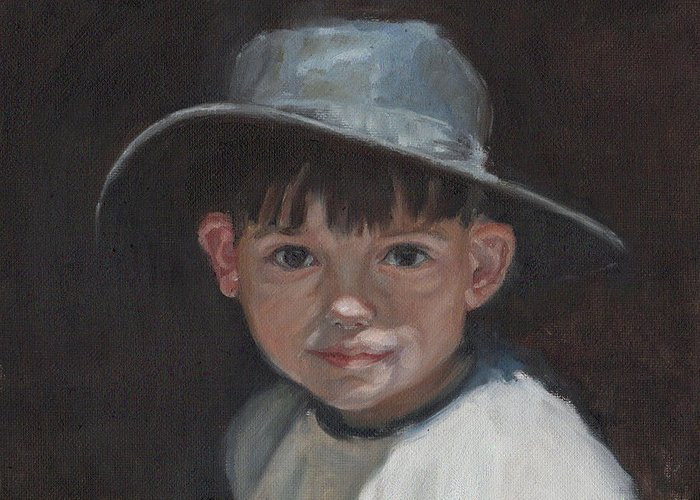 Children Greeting Card featuring the painting The Old Time Hat by Tahirih Goffic