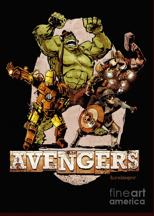 Hulk Greeting Card featuring the digital art The Old Time-y Avengers by Brian Kesinger