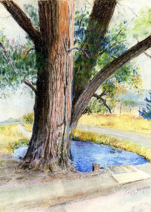 Tree Greeting Card featuring the pastel The Old Tree by Arline Wagner