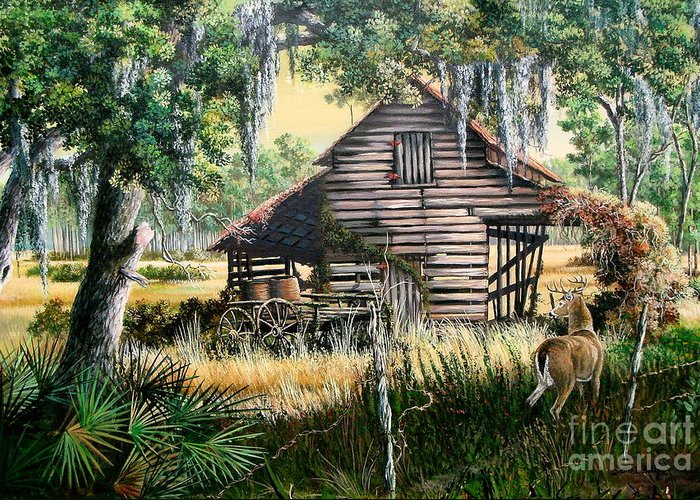 Florida Greeting Card featuring the painting Old Floridaturpentine Barn-a Florida Memory by Daniel Butler