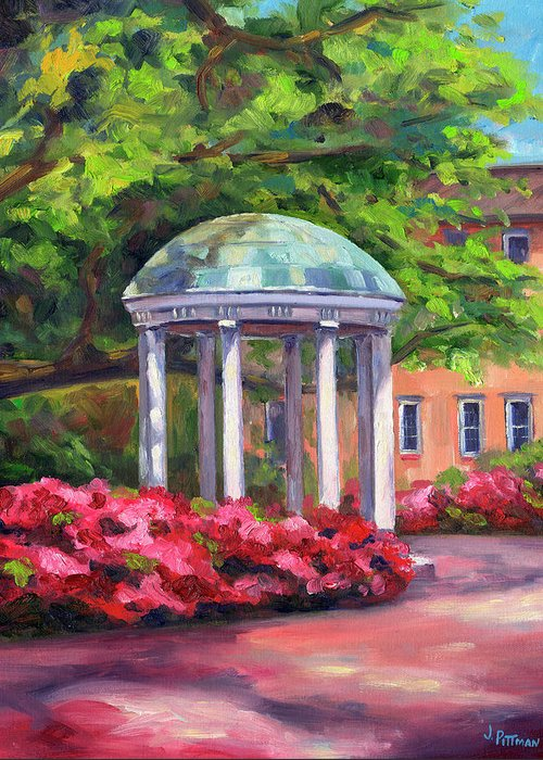 University Of North Carolina At Chapel Hill Greeting Card featuring the painting The Old Well UNC by Jeff Pittman