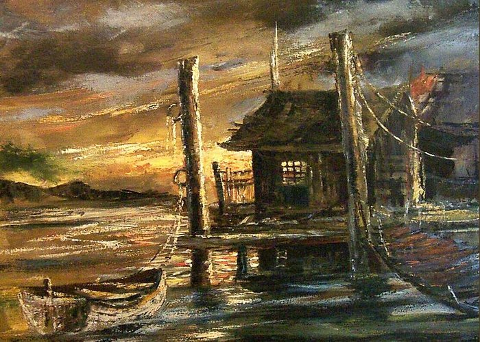 Seascape Greeting Card featuring the painting The Old Wharf by Don Griffiths