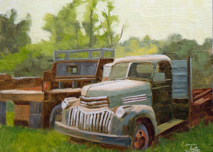 Old Trucks Greeting Card featuring the painting The Old Work Force by Tate Hamilton