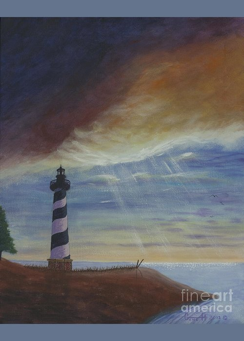 Lighthouse Greeting Card featuring the painting The One True Light by Gene Huebner