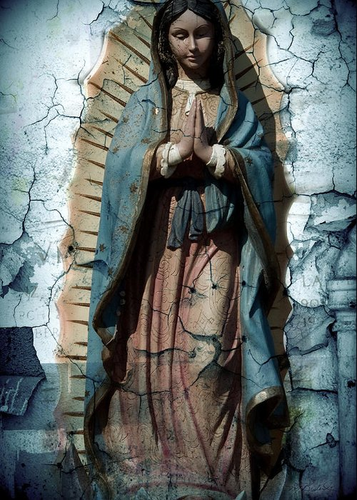 Virgin Of Guadalupe Greeting Card featuring the photograph The One Who Crushes The Serpent by Melissa Wyatt