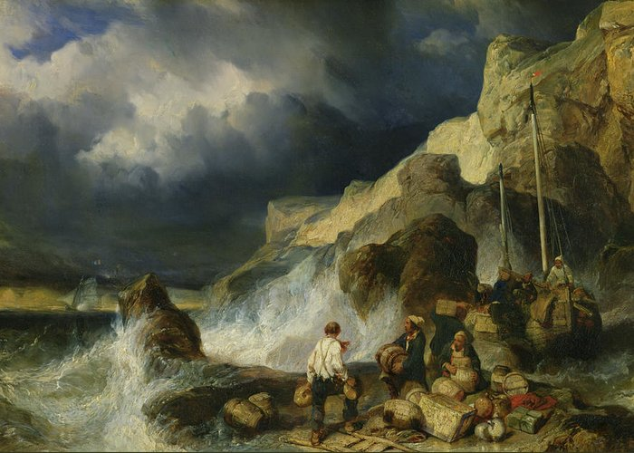 The Greeting Card featuring the painting The Onslaught Of The Smugglers by Louis Eugene Gabriel Isabey