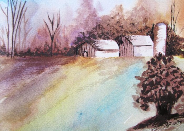 Barn Greeting Card featuring the painting The Open Barn Door by Trilby Cole