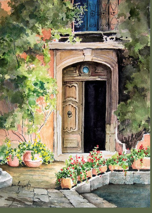 Door Greeting Card featuring the painting The Open Door by Sam Sidders