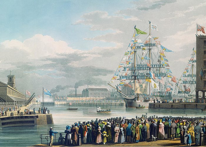 The Greeting Card featuring the painting The Opening Of Saint Katharine Docks by Edward Duncan
