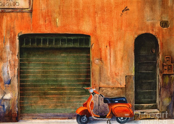 Vespa Greeting Card featuring the painting The Orange Vespa by Karen Fleschler