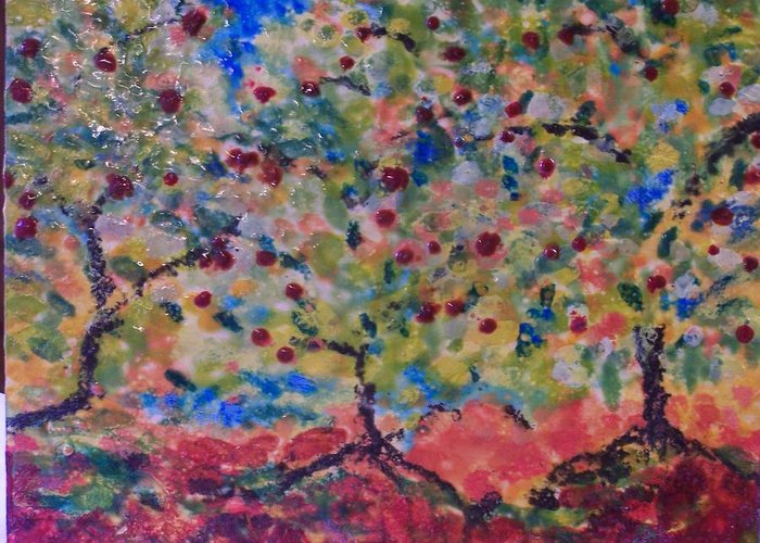 Landscape Greeting Card featuring the painting The Orchard by Karla Phlypo-Price