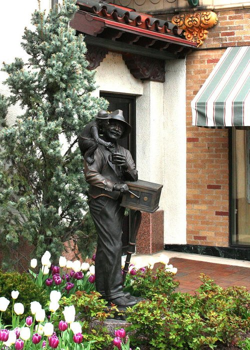 Statue Greeting Card featuring the photograph The Organ Grinder Kansas City Missouri by David Dunham