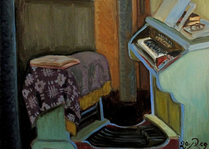 Interior Greeting Card featuring the painting The Organ in The Inturke Church by Raimonda Jatkeviciute-Kasparaviciene