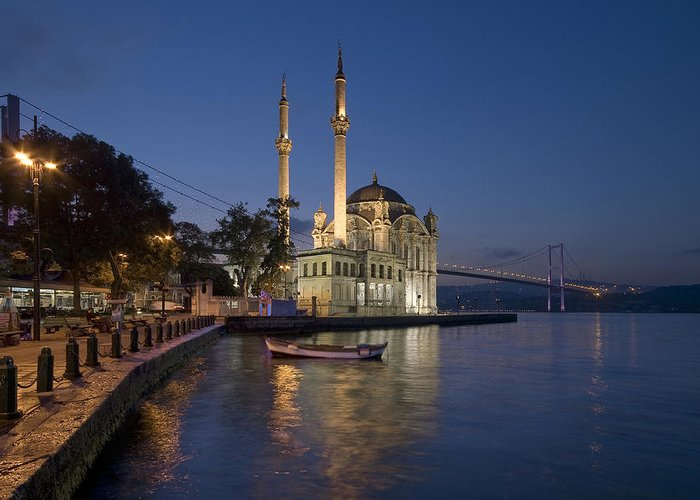 Turkey Greeting Card featuring the photograph The Ortakoy Mosque And Bosphorus Bridge At Dusk by Ayhan Altun