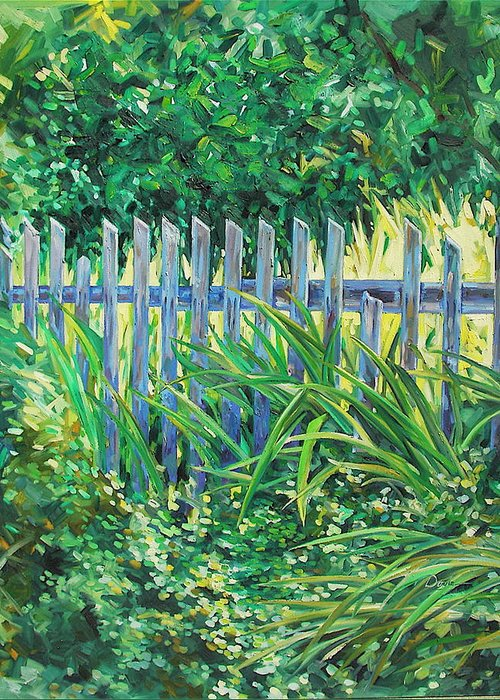 Fence Greeting Card featuring the painting The Other Side by Karen Doyle