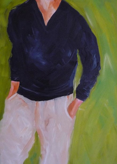 Figurative Greeting Card featuring the painting The Outsider by Irit Bourla