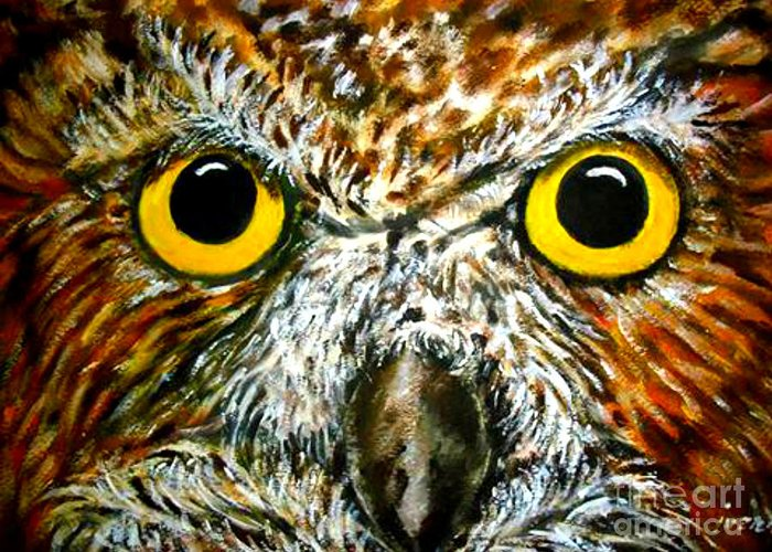 Bird Greeting Card featuring the painting The Owl by Ivanhoe Ardiente