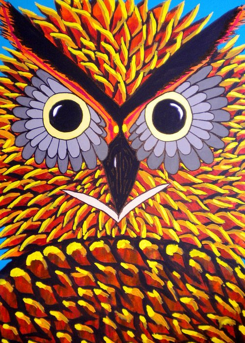 Owl Greeting Card featuring the painting The Owl Stare by Nick Reaves