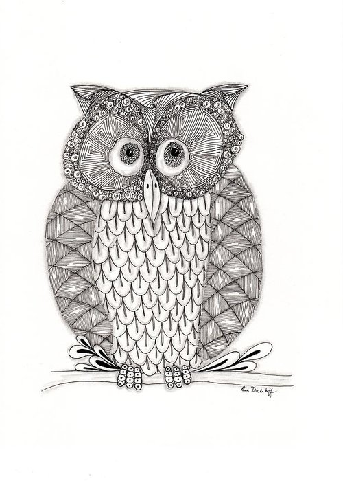 pen and ink owl drawing greeting cards