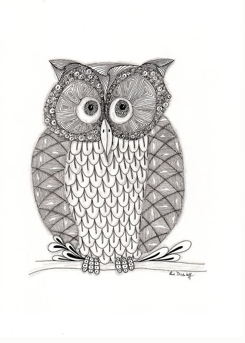 Owl Greeting Card featuring the drawing The Owl's Who by Paula Dickerhoff