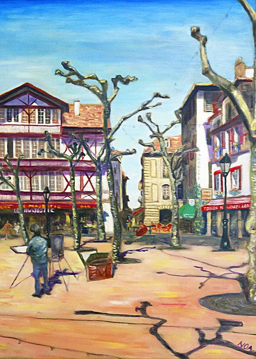 Cityscape Greeting Card featuring the painting The Painter by Aymeric NOA