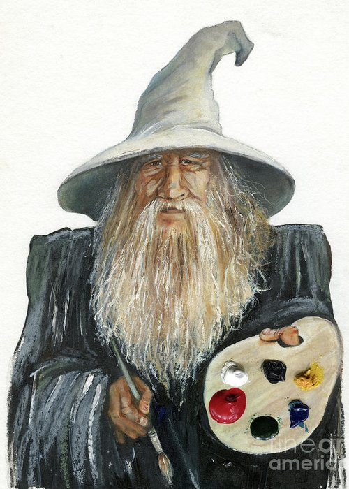 Wizard Greeting Card featuring the painting The Painting Wizard by J W Baker