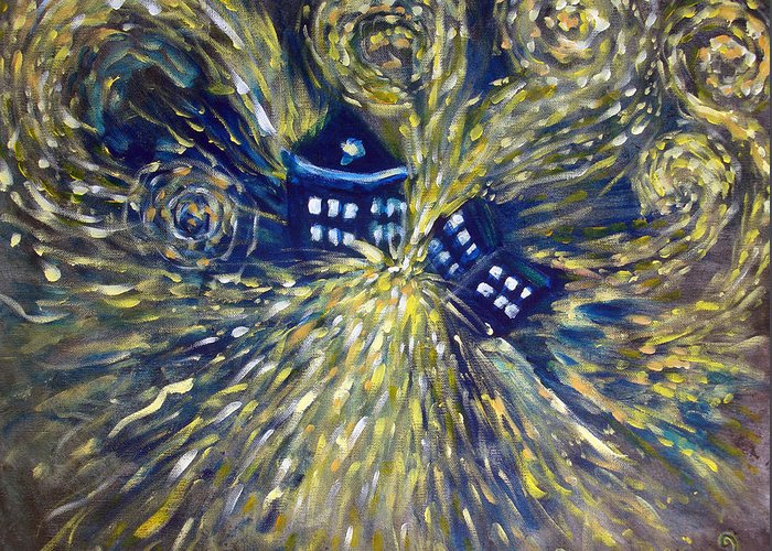 Doctor Who Greeting Card featuring the painting The Pandorica Opens by Alizey Khan