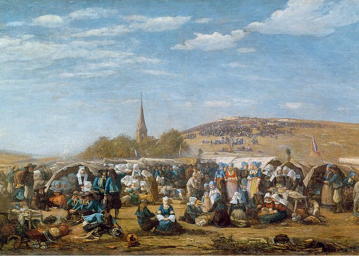 The Greeting Card featuring the painting The Pardon Of Sainte Anne La Palud by Eugene Louis Boudin