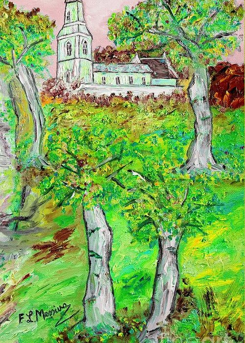 Oil Painting Greeting Card featuring the painting The Parish Curch by Loredana Messina
