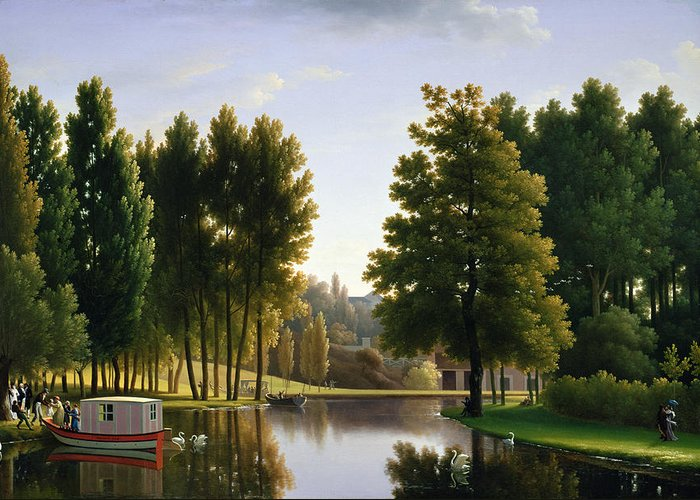 Lake Greeting Card featuring the painting The Park At Mortefontaine by Jean Bidauld