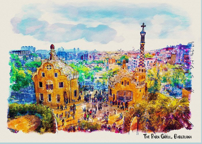Park Guell Greeting Card featuring the painting Park Guell Barcelona by Marian Voicu