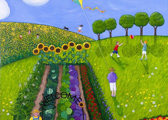 Park Greeting Card featuring the painting The Park Number 1 Of 3 by Barbara Esposito
