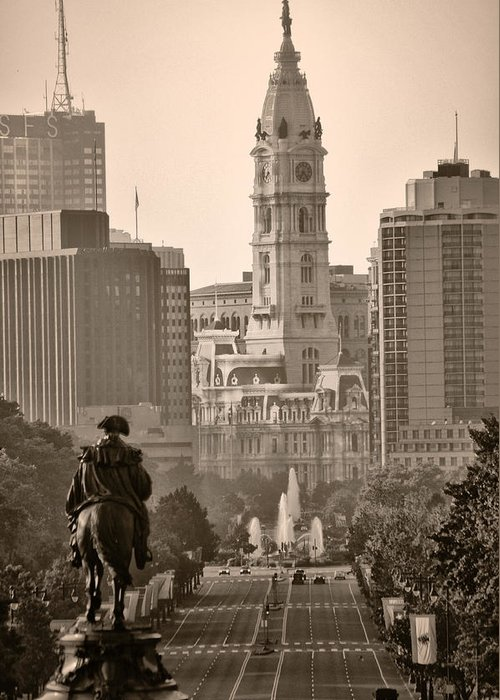 Benjamin Franklin Parkway Greeting Card featuring the photograph The Parkway In Sepia by Bill Cannon