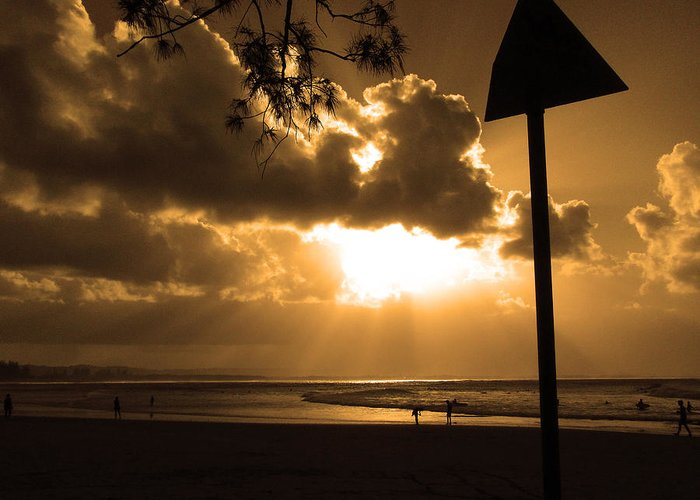 Sun Greeting Card featuring the photograph The Pass Byron Bay by Edan Chapman