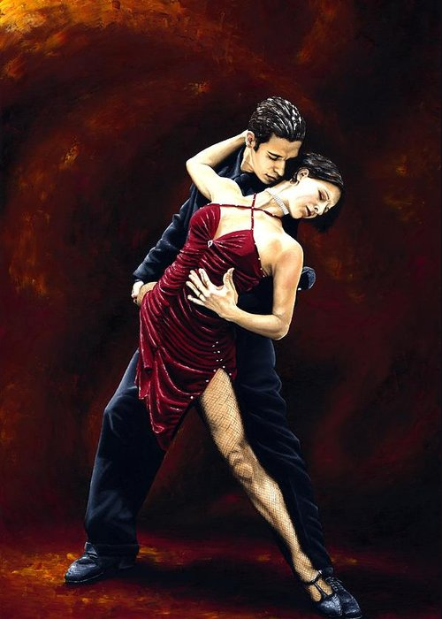 Tango Greeting Card featuring the painting The Passion of Tango by Richard Young