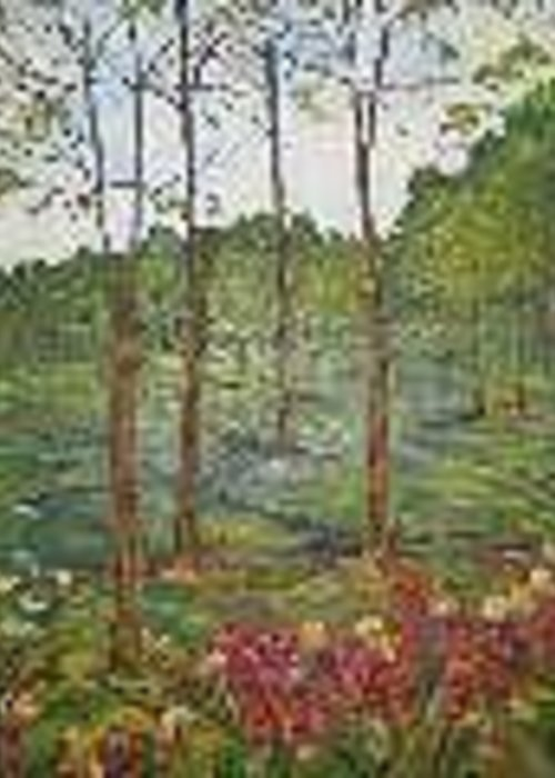 Landscape Greeting Card featuring the painting The Path 3 by Impressionist FineArtist Tucker Demps Collection