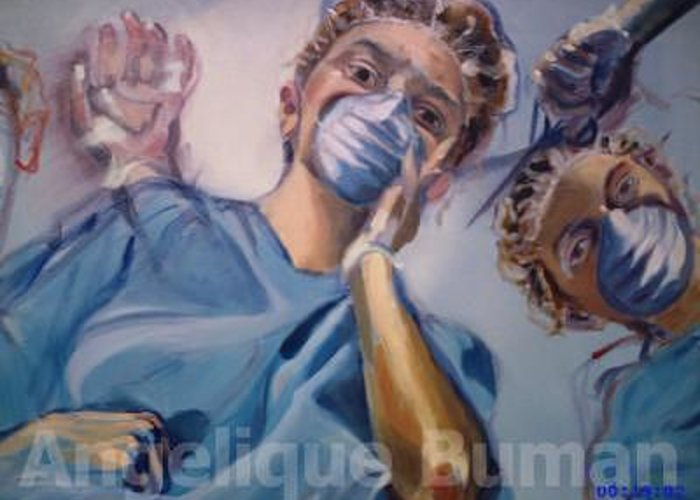 Oil Greeting Card featuring the painting The Patient by Angelique Bowman