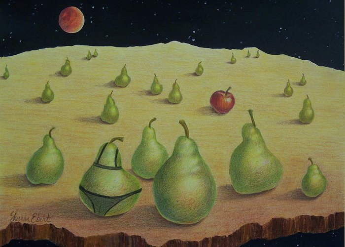 Surreal Greeting Card featuring the painting The Pearents by Sharon Ebert